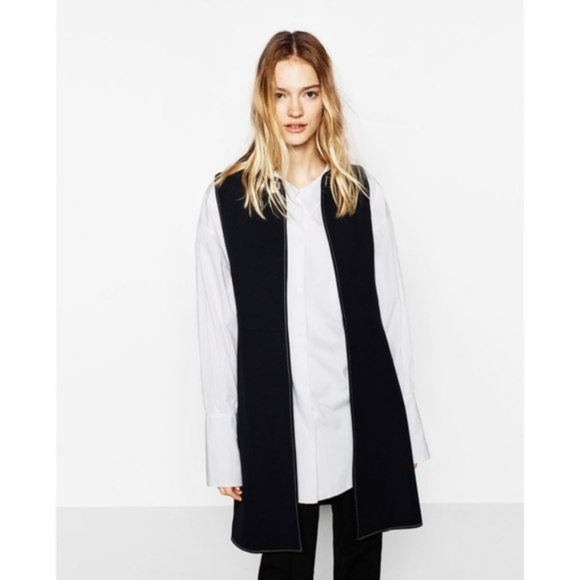 2bd16c16 Zara Jackets & Coats | Long Vest With Contrasting Topstitching ...